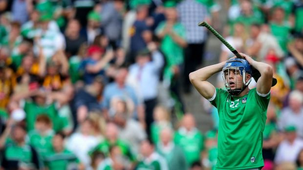 Limerick's David Reidy dejected after the game. Photograph: Oisín Keniry/Inpho