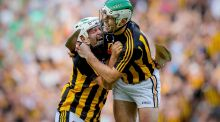 Kilkenny's Pádraig Walsh and Paddy Deegan celebrate after the All-Ireland SHC semi-final victory over Limerick at Croke Park. Photograph: James Crombie/Inpho