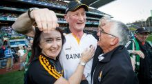 Kilkenny manager Brian Cody celebrates at the final whistle of the All-Ireland hurling semi-final against Limerick at Croke Park. Photograph: Tommy Dickson/Inpho