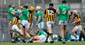Tempers flare between both sides early in the game. Photo: Oisin Keniry/Inpho