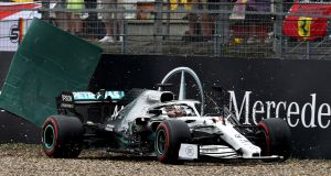 Lewis Hamilton crashes his Mercedes during the   Grand Prix of Germany at Hockenheimring  in Hockenheim, Germany. Photograph: Mark Thompson/Getty Images