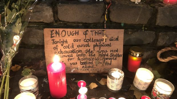 Memorial for Michal Wasikiewicz who died last November beside Christ Church Cathedral in Dublin.