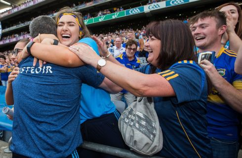 Following Tipperary's win over Wexford in the GAA hurling all-Ireland senior championship semi-final at Croke Park in Dublin, Tipperary's manager Liam Sheedy celebrates with his wife Margaret and daughters Gemma and Aislinn. Photograph: Tommy Dickson/INPHO