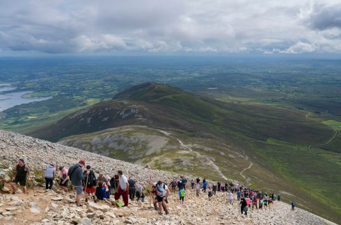 The annual Reek Sunday pilgrimage on Croagh Patrick in Co Mayo. Photograph: Michael Mc Laughlin