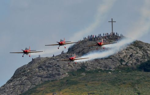 Members of the Royal Jordanian Falcons perform against the backdrop of Bray Head in Co Wicklow, during the Bray Air Display. Photograph: Alan Betson/The Irish Times
