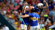 Tipperary's Padraic Maher, Alan Flynn and Ger Browne celebrate  their  1-28 to 3-20 senior hurling championship semi-final win over Wexford  in Croke Park. Photograph: Ryan Byrne/Inpho