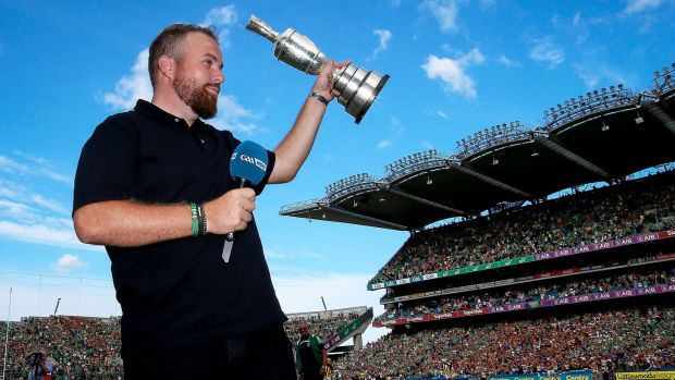 Shane Lowry shows off the Claret Jug at Croke Park during the All-Ireland hurling semi-final between Limerick and Kilkenny on Saturday. Photograph: Tommy Dickson/Inpho