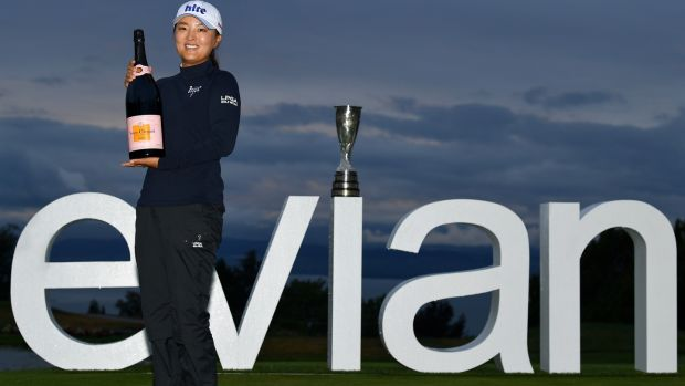 Jin Young Ko of South Korea poses for a photograph following victory in the Evian Championship at Evian Resort Golf Club in Evian-les-Bains, France. Photograph: Stuart Franklin/Getty Images