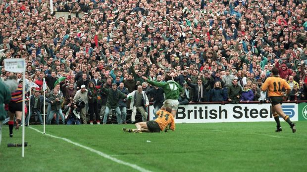 Gordon Hamilton scores for Ireland against Australiia at Lansdowne Road in 1992. Photograph: Billy Stickland/Inpho