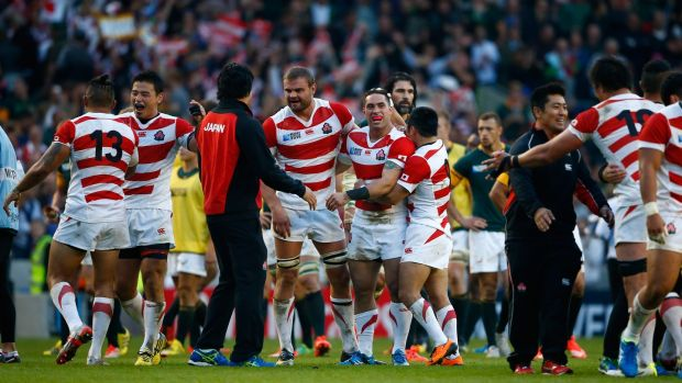Japan celebrate their shock win over the Springbok in Brighton in 2015. Photograph: Julian Finney/Getty