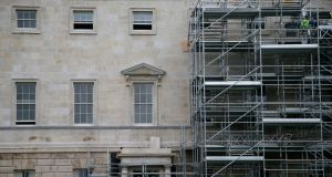 The scaffolding is coming down on Leinster House as the refurbishment comes to an end. Photograph: Nick Bradshaw