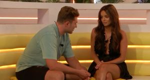 Have we been here before? Love Island's Irish star Maura Higgins with fellow contestant Curtis Pritchard. Photograph: ITV.