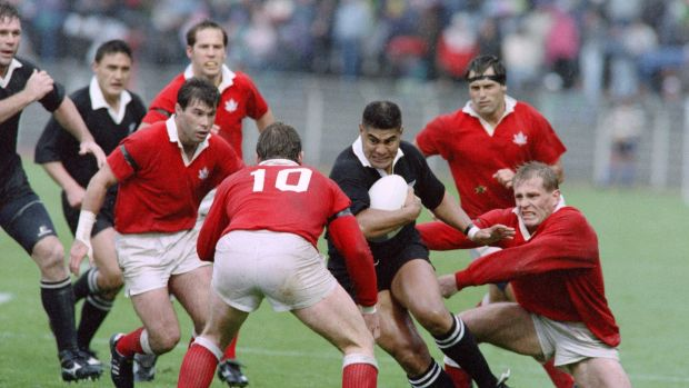 Varaiga Tuigmala carries for the All Blacks against Canada in during the 1991 Rugby World Cup. Photograph: AFP/Getty