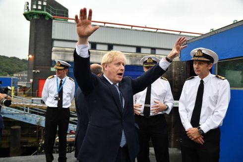 SUBMARINE VISIT: UK prime minister Boris Johnson visits HMS Victorious at HM Naval Base Clyde in Faslane, Scotland. Photograph: Jeff J Mitchell/PA Wire