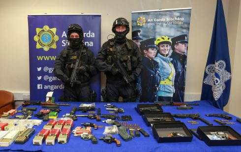 WEAPONS: The Gardaí put on display some of the guns and ammunition seized from organised crime gangs over the past four years. Photograph: Crispin Rodwell/The Irish Times