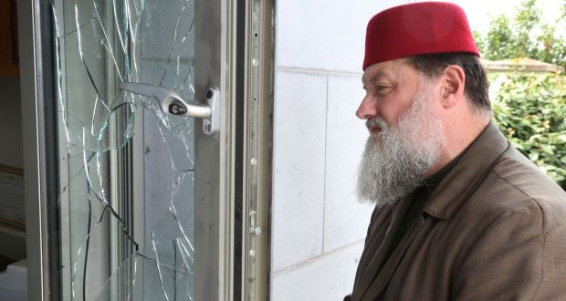Imam Ibrahim Noonan inpsects the damage at Maryam Mosque, Ballybane, Galway. Photograph: Joe O'Shaughnessy