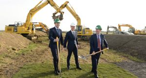 Taoiseach Leo Varadkar and Minister for Transport Shane Ross perform the official sod-turning for Dublin Airport's new north runway project in February 2019.  With them is  DAA chief executive Dalton Philips. Photograph: Dara Mac Dónaill