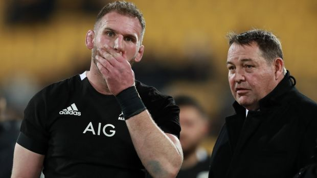 All Blacks captain Kieran Read and outgoing head coach Steve Hansen. Photograph: Hannah Peters/Getty