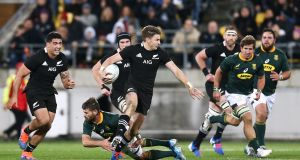 Beauden Barrett in action against South Africa during the Rugby Championship. Photograph: Hagen Hopkins/Getty