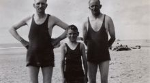My mother created her own unisex swimming togs from scraps of wool. (And dad wore them too)