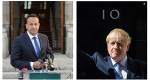 Taoiseach Leo Varadkar and Boris Johnson have spoken for the first time since the latter became UK prime minister almost a week ago.  Photographs: The Irish Times and PA.