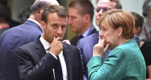 'Much of France and Germany's strategy has been based on the assumption that they'll never actually have to deal with no deal.' Emmanuel Macron and Angela Merkel in Brussels. Photograph: Geert Vanden Wijngaert/AP