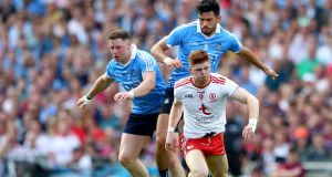 Dublin's Philly McMahon and Cian O'Sullivan tackle Cathal McShane of Tyrone during the 2018 All-Ireland football final at Croke Park. Photograph: James Crombie/Inpho