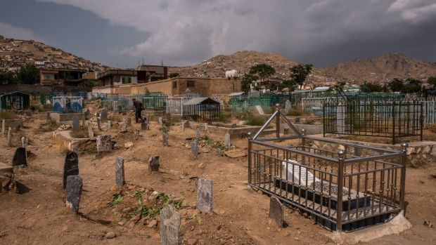 Graves of some of the people killed in an attack at the political headquarters of Amrullah Saleh. Photograph: Jim Huylebroek/The New York Times