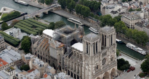 The fire that nearly destroyed Notre Dame cathedral on April 15th melted 400 tonnes of lead in the steeple and roof. Photograph: Philippe Wojazer/Reuters