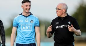 Dublin Under-20 manager Tom Gray with forward Ciarán Archer, who has scored 9-30 in four games. Photograph: Laszlo Geczo/Inpho