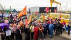Harland & Wolff workers and supporters during a rally to save the Belfast shipyard on the eve of new British prime minister Boris Johnson's visit to Northern Ireland. Photograph: Liam McBurney/PA Wire