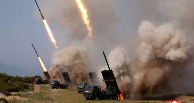 Rocket launchers firing during a test of weapons in an undisclosed location in North Korea in May. Photograph: Korean Central News Agency