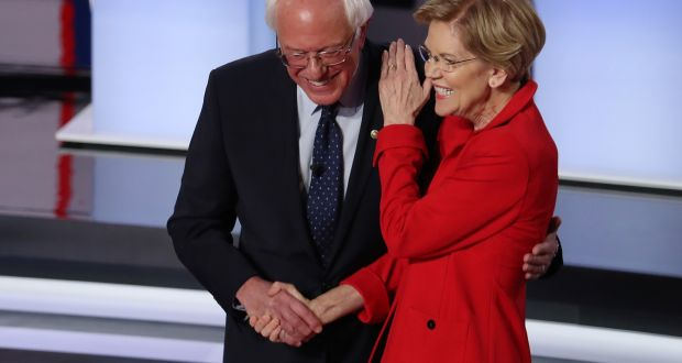 Democratic presidential candidates  Bernie Sanders and Elizabeth Warren. Photograph:  Justin Sullivan/Getty