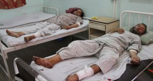 People who were injured in a bomb blast receive medical treatment at a hospital in Afghanistan. Photograph: Muhammad Sadiq/EPA