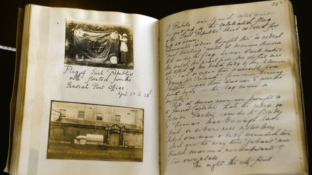 The diary of Elsie Mahaffy from the Trinity College exhibition on the Rising. Photograph: Cyril Byrne