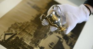 A silver cup awarded to the officer training corps in thanks for defending Trinity College and the surrounding area during the Easter Rising. Photograph: Cyril Byrne