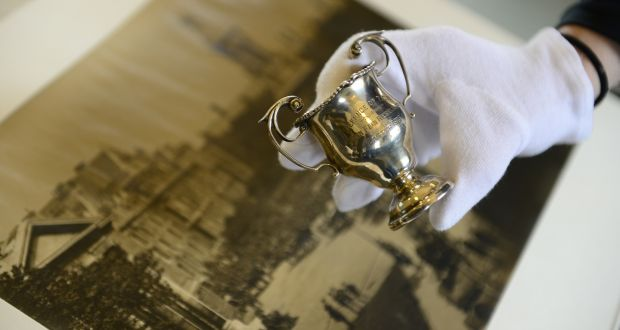 185a68476 A silver cup awarded to the officer training corps in thanks for defending  Trinity College and