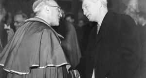 Jacques Maritain, right, with  Monsignor Roques in  Paris in 1946. Photograph: Gamma-Rapho via Getty Images