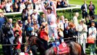 Jockey Frankie Dettori celebrates winning the Qatar Sussex Stakes by jumping off Too Darn Hot during day two of the Qatar Goodwood Festival. Photograph:  Adam Davy/PA Wire