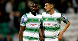 Dan Carr and Graham Cummins: Carr is hoping to get on the scoresheet again for Shamrock Rovers but Cummins misses out on the game in Cyprus due to  concussion. Photograph: Ryan Byrne/Inpho