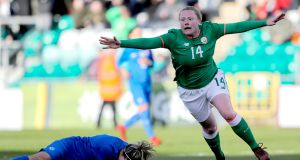 Ireland's Amber Barrett scoring against Slovakia at Tallaght Stadium, Dublin, in a  World Cup qualifier in 2018. Photograph: Ryan Byrne/Inpho