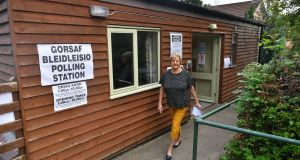 A voter leaves the polling station at Llyswen and Boughrood community hall in Llyswen, during the Brecon and Radnorshire byelection on Thursday. Photograph:  Ben Birchall/PA Wire