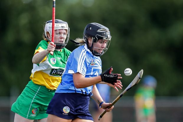 Dublin's Aoibhe Dillon and Lisa Brady of Offaly during the All-Ireland Premier Junior Camogie Semi-final at Coralstown/Kinnegad GAA, Co Westmeath in 2018. Photograph: Laszlo Geczo/Inpho