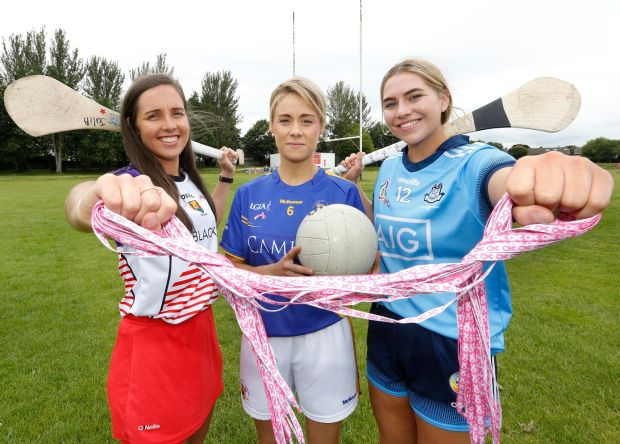 Cork camogie player Julia White, Tipperary footballer Samantha Lambert and Dublin camogie player Aoibhe Dillon. Photograph: Sasko Lazarov/Photocall Ireland