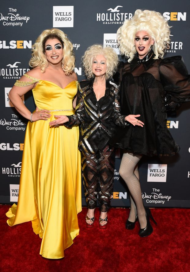 Alexis Michelle, Cyndi Lauper and Dusty Ray Bottoms at the 2019 GLSEN Respect Awards in New York last May. Photograph: Ilya S Savenok/Getty