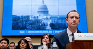 Facebook chief executive  Mark Zuckerberg  testifies on Capitol Hill in Washington in April 2018. Photograph: Andrew Harnik/AP Photo