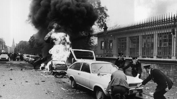 The aftermath of the bombing of Nassau Street in 1974