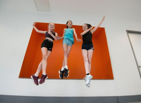 Students from around the world are taking part in the Riverdance International Summer School in Dublin. Taught by Riverdance professionals, students travel to Dublin to immerse themselves in the original choreography of the famous production. From left, Caitlin Murray (12) Armagh; Sophia Delaney (13) Laois; Caoimhe Kirkham (13), Galway. Photograph: Dave Meehan/The Irish Times