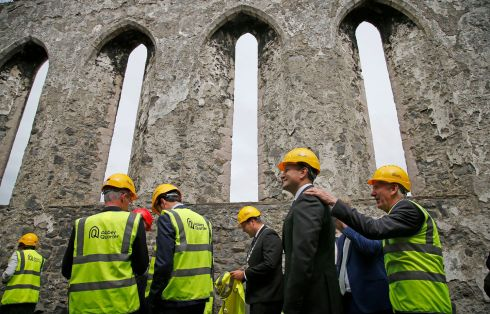 Taoiseach Leo Varadkar and Minister for Housing Eoghan Murphy at the site of the former Smithwick's brewary in Co Kilkenny, to launch a €100m investment for the redevelopment of the site which will include a mix of offices, residential, educational and retail uses and will be delivered on a commercial basis. Photograph: Nick Bradshaw/The Irish Times