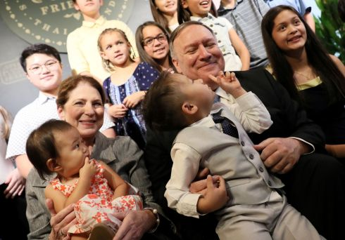 US secretary of state Mike Pompeo and his wife Susan meet with family members of staff at the US embassy in Bangkok, Thailand. Photograph: Jonathan Ernst/Reuters